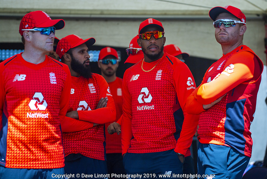 The England team wait to start the match. Twenty20 International cricket match between NZ Black Caps and England at Westpac Stadium in Wellington, New Zealand on Sunday, 3 November 2019. Photo: Dave Lintott / lintottphoto.co.nz
