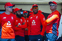 The England team wait to start the match. Twenty20 International cricket match between NZ Black Caps and England at Westpac Stadium in Wellington, New Zealand on Sunday, 3 November 2019. Photo: Dave Lintott / lintottphoto.co.nz