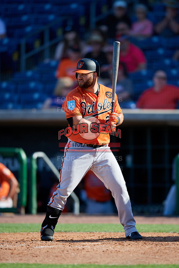 Baltimore Orioles right fielder DJ Stewart (24) at bat during a Grapefruit League Spring Training game against the Philadelphia Phillies on February 28, 2019 at Spectrum Field in Clearwater, Florida.  Orioles tied the Phillies 5-5.  (Mike Janes/Four Seam Images)