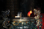 Bao-jhong Yi-min Temple, Kaohsiung -- Joss stick brazier with dragons in a Taiwanese temple.
