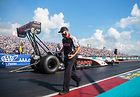 Oct 7, 2018; Ennis, TX, USA; Dom Lagana, crew member for NHRA top fuel driver Billy Torrence during the Fall Nationals at the Texas Motorplex. Mandatory Credit: Mark J. Rebilas-USA TODAY Sports