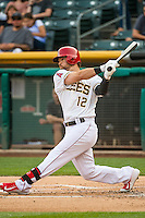 Collin Cowgill (12) of the Salt Lake Bees at bat against the Iowa Cubs in Pacific Coast League action at Smith's Ballpark on August 20, 2015 in Salt Lake City, Utah. The Cubs defeated the Bees 13-2. (Stephen Smith/Four Seam Images)
