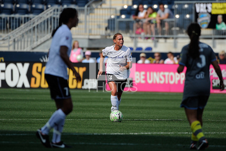 Christie Rampone (3) of magicJack SC. The Philadelphia Independence defeated magicJack SC 2-0 during the Women's Professional Soccer (WPS) Super Semifinal at PPL Park in Chester, PA, on August 20, 2011.