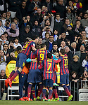 """Barcelona's Argentinian forward Lionel Messi celebrates after scoring during the """"El clasico"""" Spanish League football match Real Madrid vs Barcelona at the Santiago Bernabeu stadium in Madrid on March 23, 2014.   PHOTOCALL3000/ DP"""