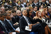 United States President Barack Obama and first lady Michelle Obama attend a memorial for the victims of the Washington Navy Yard shooting at the Marine Barracks, September 22, 2013 in Washington, D.C. The President and First Lady also visited with families of the victims. <br /> Credit: Olivier Douliery / Pool via CNP