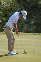 Satoshi Kodaira (JPN) sinks his putt on 2 during day 2 of the WGC Dell Match Play, at the Austin Country Club, Austin, Texas, USA. 3/28/2019.<br /> Picture: Golffile | Ken Murray<br /> <br /> <br /> All photo usage must carry mandatory copyright credit (© Golffile | Ken Murray)