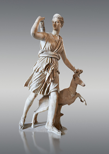 """Artemis and a deer, known as """"Diana of Versailles"""", a 1st - 2nd century Roman statue in marble probably from Italy.  Artemis, Diana to the Romans, is goddess of the hunt, is accompanied by a deer.  The Diana of Versailles, similar to other Roman replicas was found in Libya or Turkey and was copied from a lost Greek bronze original attributed to Leochares, c. 325 BC .  First the statue was at Fontainbleau then the Louvre ancient hall and finally it went to Versailles. From the collection of Louis XIV, Pope Paul IV and Henry II (1556) . Inv MR 152 ( or Ma 589), Louvre Museum Paris"""