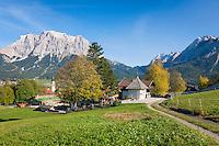 Austria, Tyrol, Lermoos: with village church, plague chapel and Zugspitze mountains | Oesterreich, Tirol, Lermoos: mit Dorfkirche und Pestkapelle vorm Zugspitzmassiv