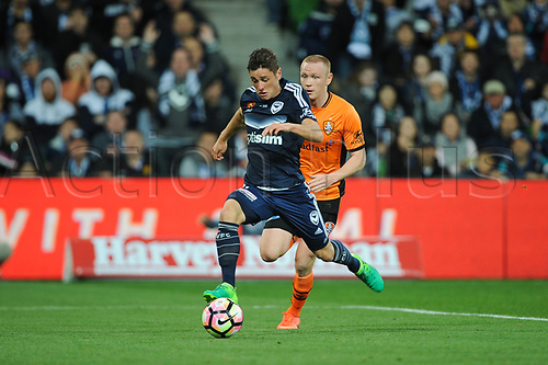 30th April 2017, AAMI Park, Melbourne, Australia; Hyundai A-League Football; Melbourne Victory versus Brisbane Roar FC; Marcus Rojas of the Melbourne Victory runs with the ball towards goal during the second half