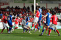 Jon Ashton of Stevenage heads over. - Walsall v Stevenage - npower League 1 - Banks's Stadium, Walsall - 24th March, 2012  .© Kevin Coleman 2012