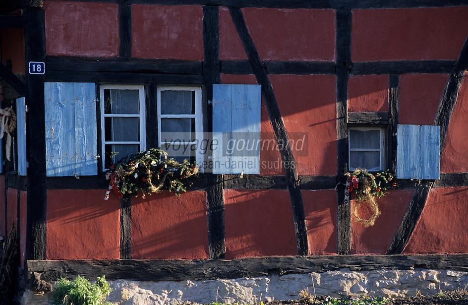 Europe/France/Alsace/68/Haut-Rhin/Ungersheim: Ecomusée d'Alsace - Détail des décorations de Noël sur les fermes
