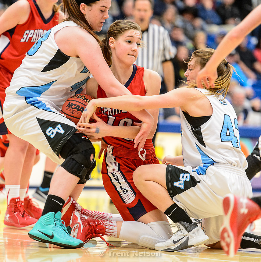 Trent Nelson  |  The Salt Lake Tribune<br /> Sky View's Hunter Krebs (43), left, pulls the ball away from Springville's Savannah Sumsion (10), as Sky View faces Springville in the 4A state high school girls basketball tournament at Salt Lake Community College in Taylorsville, Tuesday February 17, 2015. Mountain View wins 54-49.
