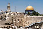 Bab al-Silsila minaret and the Dome of the Rock shrine on al-Haram ash-Sharif and the Mughrabi Bridge by the Western Wall or Wailing Wall.  The Western Wall and its plaza is in the Jewish Quarter of the Old City of Jerusalem.  The Old City of Jerusalem and its Walls is a UNESCO World Heritage Site.