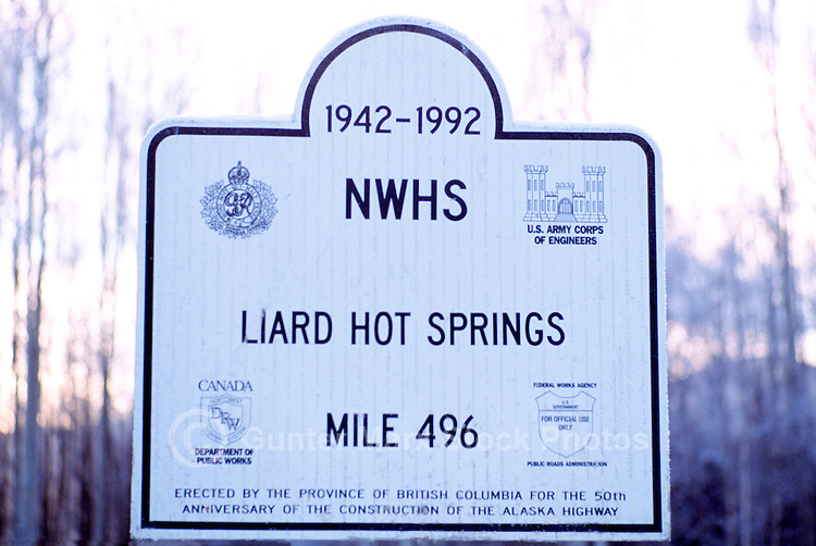 Sign about History of Alaska Highway Construction at Liard Hot Springs, Northern BC, British Columbia, Canada - Winter