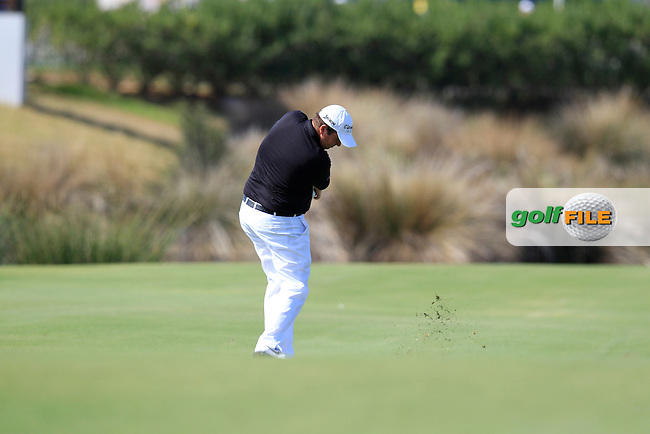 Shane Lowry (IRL) plays his 2nd shot on the 18th hole during Thursday's Round 1 of the Portugal Masters at the Oceanico Victoria Golf Course, Vilamoura, Portugal 10th October 2012 (Photo Eoin Clarke/www.golffile.ie)