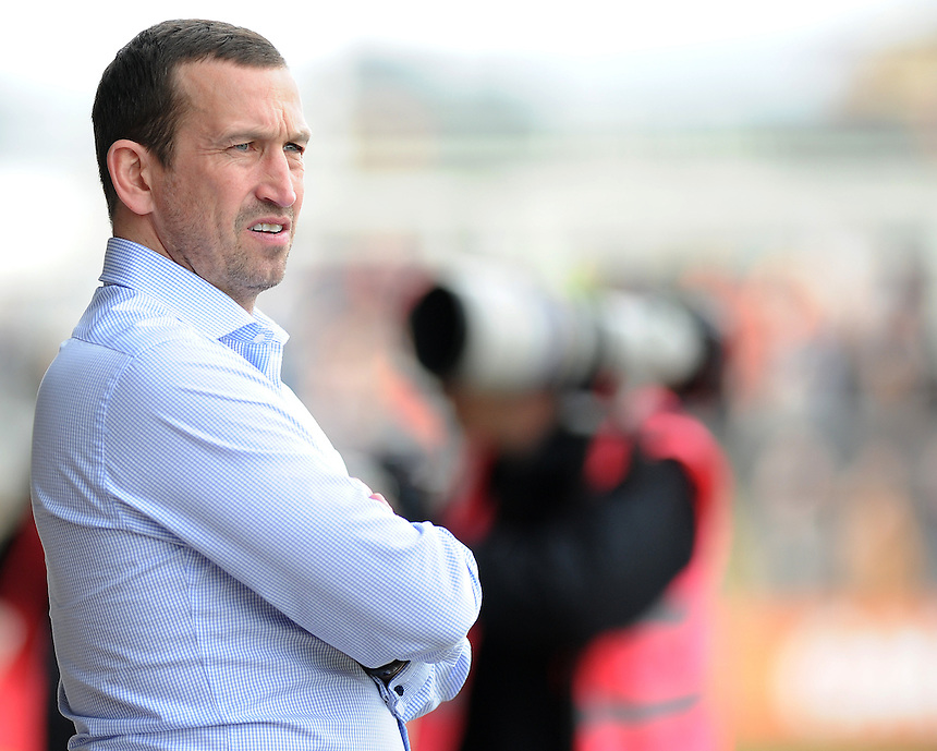Newport County's Manager Justin Edinburgh <br /> <br /> Photo by Ashley Crowden/CameraSport<br /> <br /> Football - The Football League Sky Bet League Two - Newport County AFC v Portsmouth - Saturday 29th March 2014 - Rodney Parade - Newport<br /> <br /> &copy; CameraSport - 43 Linden Ave. Countesthorpe. Leicester. England. LE8 5PG - Tel: +44 (0) 116 277 4147 - admin@camerasport.com - www.camerasport.com