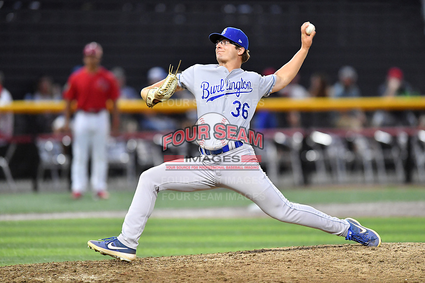 Burlington Royals relief pitcher Alex Smith (36) delivers a pitch during game one of the Appalachian League Championship Series against the Johnson City Cardinals at TVA Credit Union Ballpark on September 2, 2019 in Johnson City, Tennessee. The Royals defeated the Cardinals 9-2 to take the series lead 1-0. (Tony Farlow/Four Seam Images)