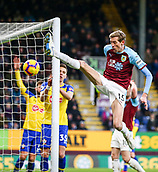 2nd February 2019, Turf Moor, Burnley, England; EPL Premier League football, Burnley versus Southampton; Peter Crouch of Burnley volleys the ball but it had gone out of play