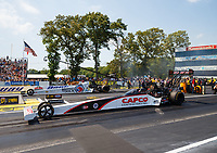 Jun 10, 2017; Englishtown , NJ, USA; NHRA top fuel driver Steve Torrence (near) races alongside Antron Brown during qualifying for the Summernationals at Old Bridge Township Raceway Park. Mandatory Credit: Mark J. Rebilas-USA TODAY Sports