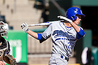 Landon Curry (23) of the Indiana State Sycamores follows through his swing during a game against the Evansville Purple Aces in the 2012 Missouri Valley Conference Championship Tournament at Hammons Field on May 23, 2012 in Springfield, Missouri. (David Welker/Four Seam Images)