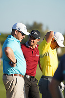 Haydn Porteous (RSA),George Coetzee (RSA) and Adrien Saddier (FRA) during the EDGA nearest the pin challenge following Round 3 of the Portugal Masters, Dom Pedro Victoria Golf Course, Vilamoura, Vilamoura, Portugal. 26/10/2019<br /> Picture Andy Crook / Golffile.ie<br /> <br /> All photo usage must carry mandatory copyright credit (© Golffile   Andy Crook)