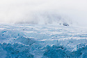 Norway, Svalbard, massive glacier in cloudy weather