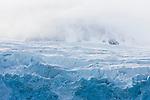 Norway, Svalbard, massive glacier in cloudy weather