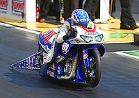May 16, 2014; Commerce, GA, USA; NHRA pro stock motorcycle rider Hector Arana Jr during qualifying for the Southern Nationals at Atlanta Dragway. Mandatory Credit: Mark J. Rebilas-USA TODAY Sports