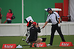 Padraig Harrington hit the practice ground after being disqualified from play on day two of the Abu Dhabi HSBC Golf Championship 2011, at the Abu Dhabi golf club, UAE. 21/1/11..Picture Fran Caffrey/www.golffile.ie.