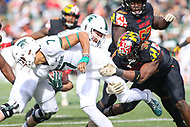 College Park, MD - November 3, 2018:  Michigan State Spartans wide receiver Cody White (7) is tackled by Maryland Terrapins linebacker Durell Nchami (30) during the game between Michigan St. and Maryland at  Capital One Field at Maryland Stadium in College Park, MD.  (Photo by Elliott Brown/Media Images International)