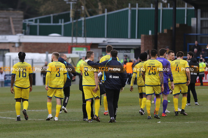 Torquay players head to the dressing room at the final whistle after losing 5-0 at Dover during Dover Athletic vs Torquay United, Vanarama National League Football at the Crabble Athletic Ground on 26th March 2016