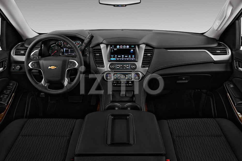 Stock photo of straight dashboard view of 2017 Chevrolet Suburban LS 5 Door SUV Dashboard