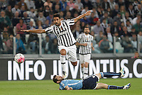 Calcio, Serie A: Juventus vs Lazio. Torino, Juventus Stadium, 20 aprile 2016.<br /> Juventus&rsquo; Sami Khedira is tackled by Lazio&rsquo;s Senad Lulic, bottom, during the Italian Serie A football match between Juventus and Lazio at Turin's Juventus Stadium, 20 April 2016.<br /> UPDATE IMAGES PRESS/Isabella Bonotto
