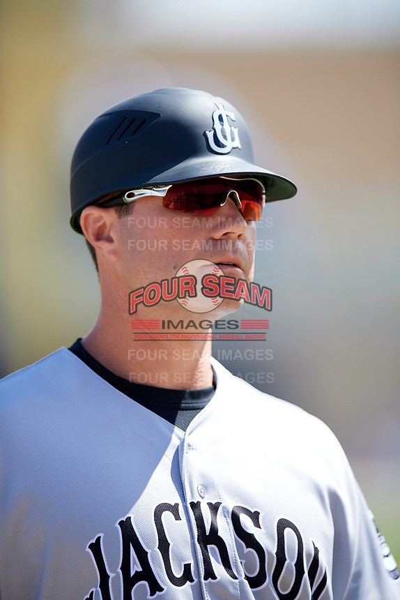Jackson Generals manager J.R. House (22) during a game against the Biloxi Shuckers on April 23, 2017 at MGM Park in Biloxi, Mississippi.  Biloxi defeated Jackson 3-2.  (Mike Janes/Four Seam Images)