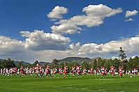 Aug. 1, 2009; Flagstaff, AZ, USA; Arizona Cardinals players run drills during training camp on the campus of Northern Arizona University. Mandatory Credit: Mark J. Rebilas-
