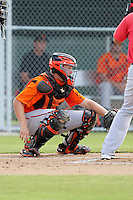 Baltimore Orioles catcher Wynston Sawyer #23 during an Instructional League game against the Boston Red Sox at Buck O'Neil Complex on October 6, 2011 in Sarasota, Florida.  (Mike Janes/Four Seam Images)