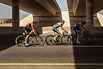 The breakaway group R&eacute;mi Cavagna (FRA) Quick-Step Floors, Xandro Meurisse (BEL) Wanty-Groupe Gobert and Pim Ligthart (NED) Roompot-Nederlandse Loterij in action during Stage 6 of the 2018 Tour of Oman running 135.5km from Al Mouj Muscat to Matrah Cornich. 18th February 2018.<br /> Picture: ASO/Muscat Municipality/Kare Dehlie Thorstad | Cyclefile<br /> <br /> <br /> All photos usage must carry mandatory copyright credit (&copy; Cyclefile | ASO/Muscat Municipality/Kare Dehlie Thorstad)