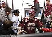 Patrick Brown (BC - 23) heads off the ice following warmups. - The Boston College Eagles defeated the Boston University Terriers 3-1 (EN) in their opening round game of the 2014 Beanpot on Monday, February 3, 2014, at TD Garden in Boston, Massachusetts.