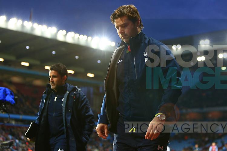 Mauricio Pochettino, Tottenham's Manager looks glum at half time - Aston Villa vs. Tottenham Hotspurs - Barclay's Premier League - Villa Park - Birmingham - 02/11/2014 Pic Philip Oldham/Sportimage