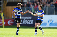 Freddie Burns of Bath Rugby replaces team-mate Rhys Priestland for his home debut. Aviva Premiership match, between Bath Rugby and Saracens on September 9, 2017 at the Recreation Ground in Bath, England. Photo by: Patrick Khachfe / Onside Images
