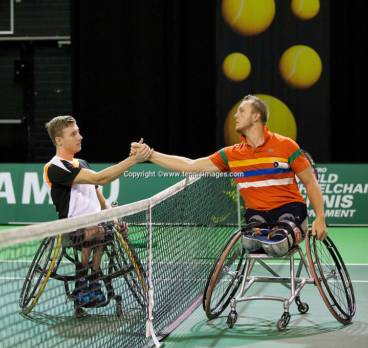 Februari 11, 2015, Netherlands, Rotterdam, Ahoy, ABN AMRO World Tennis Tournament, Nicolas Peifer (FRA) - Rody de Bie (NED)<br /> Photo: Tennisimages/Henk Koster