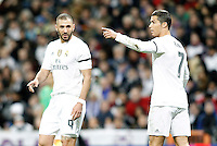 Real Madrid's Karim Benzema (l) and Cristiano Ronaldo during La Liga match. November 21,2015. (ALTERPHOTOS/Acero) /NortePhoto