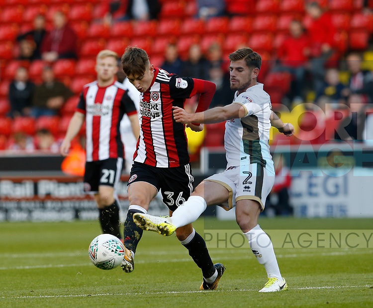 David Brooks of Sheffield Utd tussles with Joe Edwards of Walsall during the Carabao Cup First Round match at Bramall Lane Stadium, Sheffield. Picture date: August 9th 2017. Pic credit should read: Simon Bellis/Sportimage