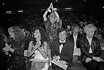 The Alternative Miss World beauty pageant competition Olympia West London 1981. The judges,  Rula Lenska, Marie Helvin, David Bailey and ? a pop star? <br />