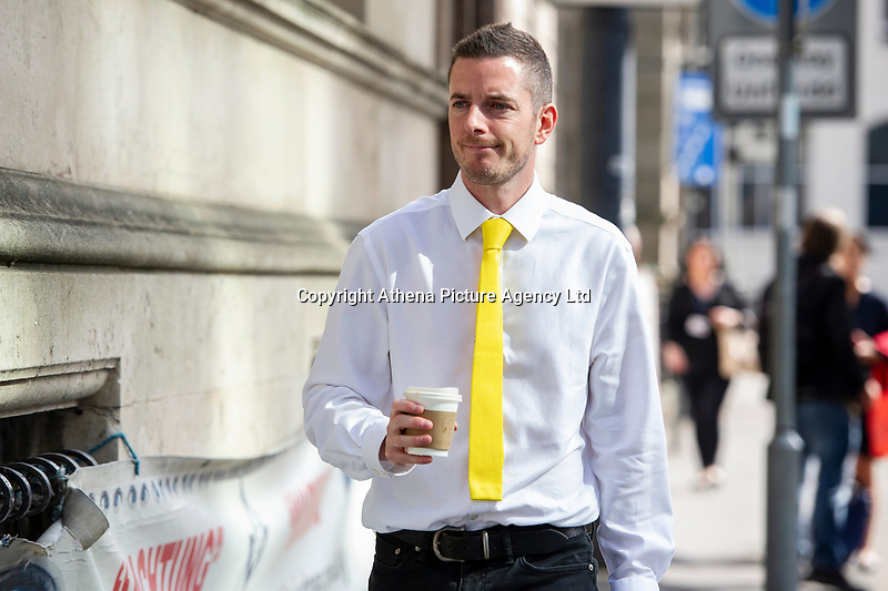 "Pictured: Ed Bridges arrives at Cardiff Civil and Family Justice Centre. Thursday 23 May 2019<br /> Re: Ed Bridges has launched the first major legal challenge over police use of surveillance equipment after his picture was taken while shopping in Cardiff, Wales, UK.<br /> He claims weak regulation means the technology breaches human rights.<br /> The hearing at the Civil and Family Court in Cardiff was told South Wales Police uses the equipment within the correct legal framework.<br /> Automatic facial recognition (AFR) technology maps faces in a crowd by measuring the distance between facial features then compares results with images on a force database - the ""watch list"" - which can include suspects, missing people and persons of interest."