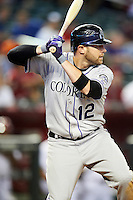 Colorado Rockies outfielder Andrew Brown #12 during a National League regular season game against the Arizona Diamondbacks at Chase Field on October 2, 2012 in Phoenix, Arizona. Arizona defeated Colorado 5-3. (Mike Janes/Four Seam Images)
