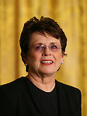 Washington, DC - August 12, 2009 -- Tennis champion Billie Jean King listens to her citation prior to United States President Barack Obama awarding her the 2009 Medal of Freedom.  The award is the highest honor a civilian can achieve for being recognized for their outstanding achievements in life. The award were given to Stephen Hawking, Ted Kennedy, Billie Jean King, Harvey Milk (posthumously) , Sandra Day O'Connor, Desmond Tutu, Dr. Pedro Jose Greer, Nancy Goodman Brinker, Jack Kemp (posthumously), Reverend Joseph Lowery, Dr. Joseph Medicine Crow, Mary Robinson, Janet Davison Rowley, Dr. Muhammad Yunus, Chita Rivera, and Sidney Poitier.  .Credit: Gary Fabiano / Pool via CNP
