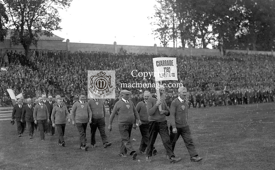 The Kerry team of 1892, the first All-Ireland winning team parade at Fitzgerald Stadium, Killarney before the   1946 All-Ireland Football final..Photo by Daniel MacMonagle..from the MacMonagle, Killarney photo archive.www.macmonagle.com