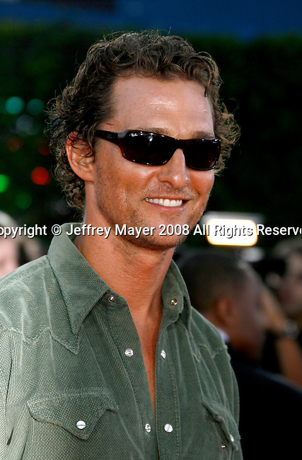 "Actor Matthew McConaughey arrives at the Los Angeles Premiere Of ""Tropic Thunder"" at the Mann's Village Theater on August 11, 2008 in Los Angeles, California."
