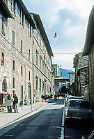 Italy: Assisi--Via San Francesco. Narrow street. Photo '85.